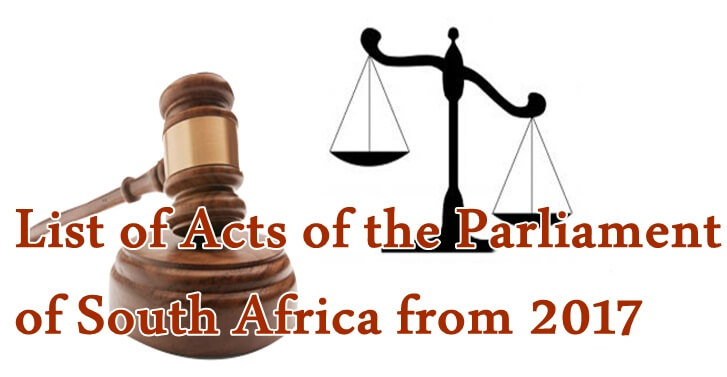 List of Acts of the Parliament of South Africa from 2017