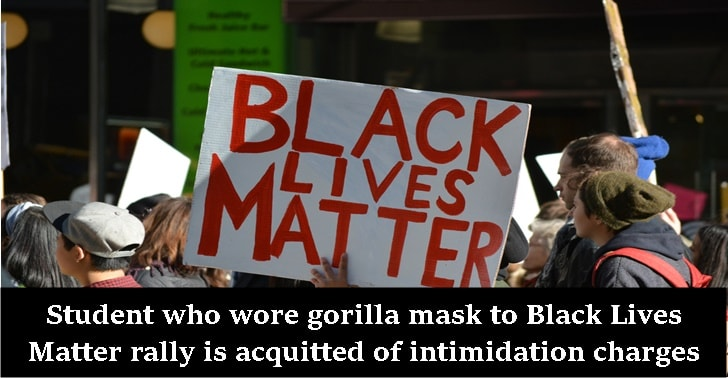 Student who wore gorilla mask to Black Lives Matter rally is acquitted of intimidation charges