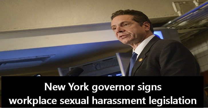 New York governor signs workplace sexual harassment legislation