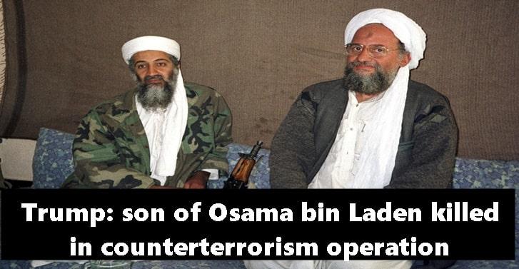 Trump: son of Osama bin Laden killed in counterterrorism operation